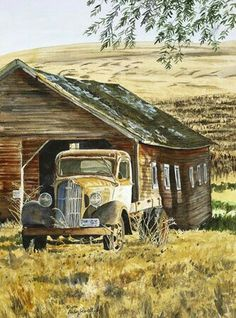 Wouldn't say I am a brown person but this lovely. Probably more the subject matter. Watercolor Barns, Watercolor Landscape, Watercolor Paintings, Watercolour, Landscape Paintings, Country Barns, Old Barns, Country Trucks, Old Country Houses