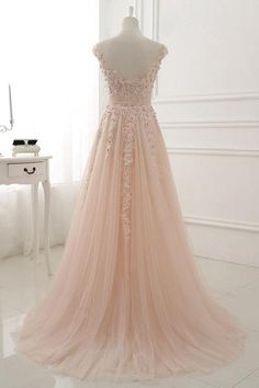 Pink round neck lace applique tulle long prom dress, tulle evening dress, Customized service and Rush order are available Pale Pink Weddings, Pink Wedding Dresses, Cheap Prom Dresses, Formal Dresses, Light Pink Wedding Dress, Lace Dresses, Dress Wedding, Pretty Dresses, Beautiful Dresses