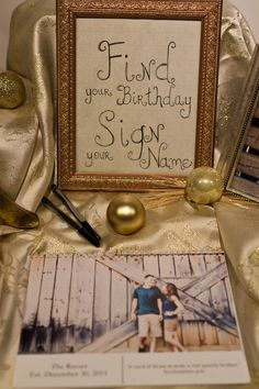 Fantastic Guest Book Idea! Print out the calendar for the year following your wedding (use shutterfly and shots from an engagement shoot) and have guests sign their name on their birthday!