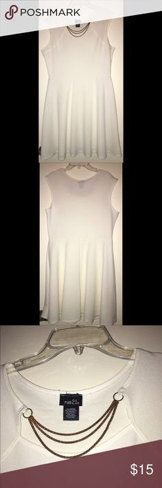 Rue 21 cream/white Mini Dress w/ gold chain Rue 21 dress with gold chains at top. Very comfortable. ☺️ Rue 21 Dresses Mini