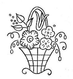 vintage flower basket embroidery pattern
