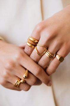 As they say, the more the merrier. Stackables to statement, discover our responsibly handcrafted rings. Cute Jewelry, Photo Jewelry, Gold Jewelry, Jewelery, Women Jewelry, Photo Accessories, Fashion Accessories, Fashion Jewelry, Jewelry Photography