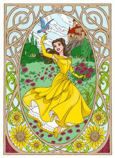 Belle the Beauty by ~Ayuukimi on deviantART Walt Disney Princesses, Disney Princess Art, Disney Films, Disney Fan Art, Disney Fun, Disney Magic, Disney Animation, Animation Film, Nickelodeon Cartoons
