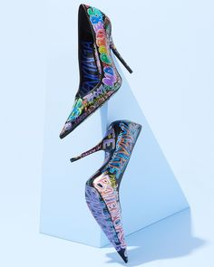 6028a19d23 Extremely Pointed Toe Pumps With Allover Graffiti-Printed Leather