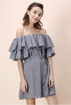 Wavy Gingham Off-shoulder Dress in Black
