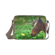 Horse and Grass Classic Cross-body Nylon Bag. FREE Shipping. #artsadd #bags #horses