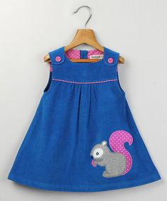 Take a look at this Blue Corduroy Squirrel Appliqué Dress by Beebay on #zulily today!