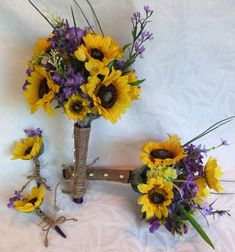 I like the blue in with the Sunflowers   wedding Country wedding 4 piece by ChurchMouseCreations, $97.00