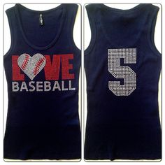 Love Baseball Mom Rhinestone Tank Top with Custom Jersey Number NAVY BLUE on Etsy, $24.99