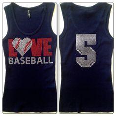 Love Baseball Mom Rhinestone Tank Top with Custom Jersey Number NAVY BLUE on Etsy, $24.99