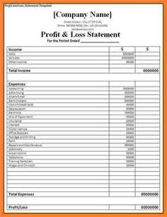 profit and loss statement form printable on the. Black Bedroom Furniture Sets. Home Design Ideas