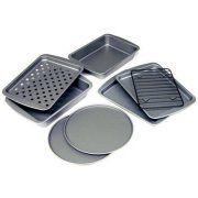 BakerEze 8-Piece Non-stick Toaster Oven Bakeware Set, Pizza Pan, Cookie Sheet and Rack, Baking Pan