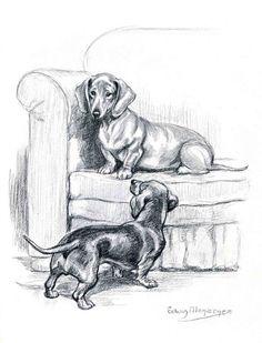 Dachshunds Vintage Dog Illustration Edwin Megargee by RoxyRani, $12.00
