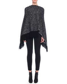 -5X7Y Dolce & Gabbana Cashmere Asymmetric-Hem Poncho with Fringe & Ankle-Zip Leggings