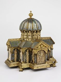 Tabernacle in the form of a miniature domed church, made in Cologne, Germany, c.1180 (source). Around the dome are seated Christ and the Apostles, while below are 16 prophets and panels depicting the Virgin and Child, the Journey of the Magi, the Crucifixion, and the Holy Women at the Sepulchre.