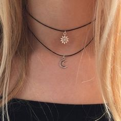 Double choker necklace silver sun and moon charms 90s Layered choker necklace on black cord