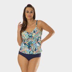 39340a0fba Plus Size Drawstring Tankini Top in Leaf Play by Mazu Swim