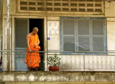 Monk at a Wat in Phnom Penh