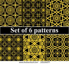 Set of abstract seamless golden patterns in arabic style, vector background