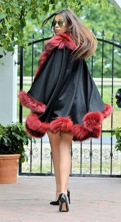 cashmere silver fox fur cape