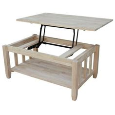 International Concepts Unfinished Lift Top Coffee Table
