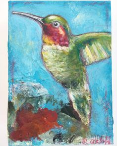"""""""Percy (rhymes with mercy)"""" by Esther Orloff.  5"""" x 7"""" colorful mixed media hummingbird painting. Acrylics. Bird art. Sold"""