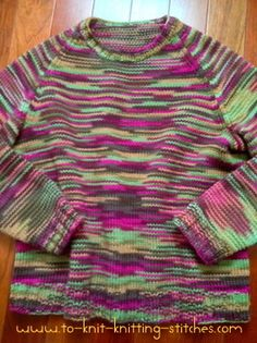Pullover Raglan Sweater  For Beginner - Free Knitting Pattern - Another option for my kid's first sweater