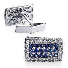 Sapphire and Diamond Mens Cufflinks 14K Gold