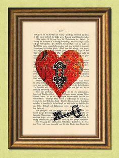The Key to My Heart - Dictionary art - Antique Book Page upcycled - Art Print Dictionary Dictionary Art, Newspaper Art And Craft, Key To My Heart, Altered Art, Altered Books, Tunnel Of Love, Key Tattoos, Vintage Medical, Cycling Art