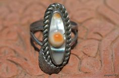 Vintage Navajo Style Sterling Silver Abalone Shell Blister Pearl Ring -New Old Store Stock