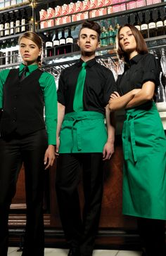 Colour co-ordinate your bar staff across a range of stylish aprons, shirts and accessories.