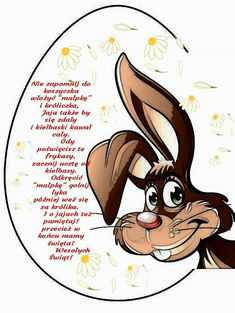 Jajko wielkanocne 🌼🐔🐰🌼😚🐰🌼🐔🐰🐇🌼🐔🐛🐇🐥😊🌷🐇🐥😊🌷 Animals And Pets, Easter, Humor, Funny, Diy, Cards, Speech Language Therapy, Funny Pics, Pets
