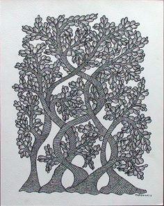 by Rajendra Shyam, Gond art Traditional Art, Gond Painting, Tribal Art, Madhubani Art, Indian Folk Art, Art, Madhubani Painting, Card Art, Hand Art