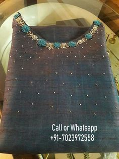 To customize, whatsapp 9043230015 for Saree, Blouse and KurtisThis Pin was discovered by poo Worldwide delivery and all colors available. Embroidery On Kurtis, Kurti Embroidery Design, Hand Embroidery Dress, Embroidery Neck Designs, Embroidery Fashion, Dress Neck Designs, Blouse Designs, Kurta Patterns, Churidar Designs