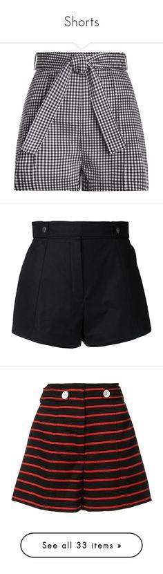 """Shorts"" by tamara-40 ❤ liked on Polyvore featuring shorts, pants, short, bottoms, gingham, back zip shorts, high waisted shorts, short swim shorts, checked shorts and high rise shorts"
