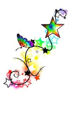 Image detail for -Rainbow Butterfly Stars Tattoo by ~misi006 on deviantART