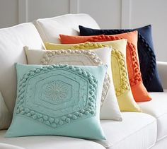 Pom Pom Embroidered Pillow Cover #potterybarn For the living room in surf spray and white