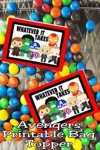 "It's time for the Endgame and to do ""whatever it takes"" to save our lost friends from Thanos. Be sure to keep stocked on snacks and party treats with this printable Avengers bag topper perfect for your Avengers party. Avengers Birthday, Superhero Birthday Party, Birthday Parties, Party Treats, Party Favors, Lost Friends, Party Printables, Free Printables, For Your Party"