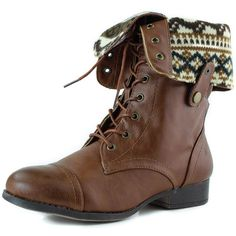 Elegant Footwear Women's Lace up Ankle Fold Over 2-way Round Toe Mid... ($27) ❤ liked on Polyvore featuring shoes, boots, ankle booties, vegan combat boots, vegan boots, lace up boots, military combat boots and lace up combat boots