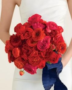RP: BOLD, RED BOUQUET - voluptuous clutch of riotous red roses and ranunculus