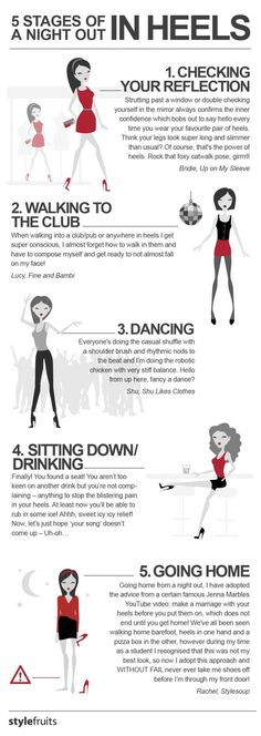 5 Stages of a Night Out in Heels