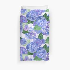 Beautiful blue/purple watercolor hydrangeas on a light purple striped background. • Also buy this artwork on home decor, apparel, stickers, and more.