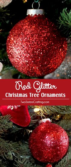 These Red Glitter Christmas Tree Ornaments are so easy to make and will be unique and special Christmas Tree Ornament that you will treasure for years to come. Pin this fun Christmas Craft for later and follow us for more great Christmas Decoration ideas and crafts.