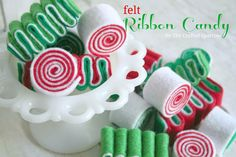 Felt Ribbon Candy Tutorial - these would make adorable ornaments on the Christmas tree #holidayentertaining