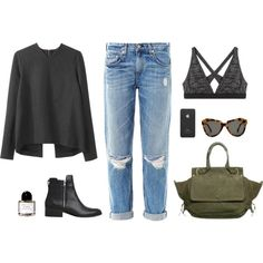 A fashion look from September 2013 featuring Cédric Charlier tops, rag & bone jeans and T By Alexander Wang bras. Browse and shop related looks.