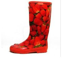 Strawberries Rain Boot  need these in the strawberry fields
