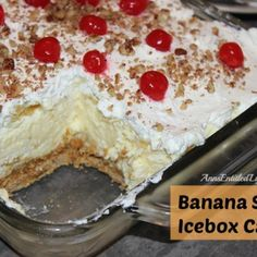 Banana Split Icebox Cake By Ann Indescribably smooth and delicious. This is like no other Banana Split Icebox Cake you have had before! Prep Time: 45 minutes plus overnight for setting Cook time: 15 minutes Ingredients for Crust: Banana Split Icebox Cake Recipe, Icebox Cake Recipes, Banana Split Dessert, Icebox Desserts, 13 Desserts, Pudding Desserts, Dessert Recipes, Pudding Cake, Food Cakes