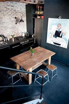 Kitchen. Industrial. Wood. Dark. Black. Concrete Floors. Brick Wall. Decor. Interior Design.