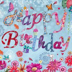 Een vrolijke verjaardagskaart met vrolijke letters en bloemen.