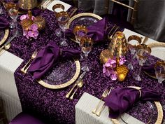 BBJ's many decorative linens, table runners, overlays, chair covers and accessories have all been featured in celebrity events and publications, such as People Magazine. Unique Wedding Centerpieces, Purple Wedding Centerpieces, Centrepieces, Wedding Table Linens, Wedding Table Settings, Place Settings, 50th Birthday Party For Women, Party Table Decorations, Birthday Decorations